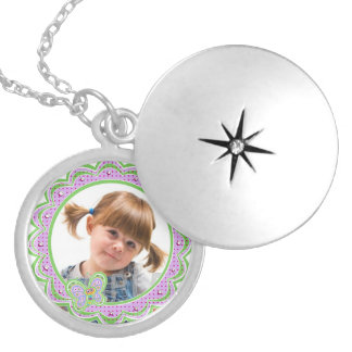 Polka Dots Butterfly Custom Photo Silver Plated Necklace