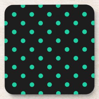 Polka Dots - Caribbean Green on Black Beverage Coasters