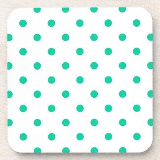 Polka Dots - Caribbean Green on White Drink Coasters