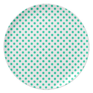 Polka Dots - Caribbean Green on White Party Plates