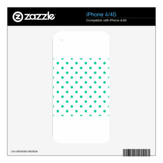 Polka Dots - Caribbean Green on White iPhone 4 Decals