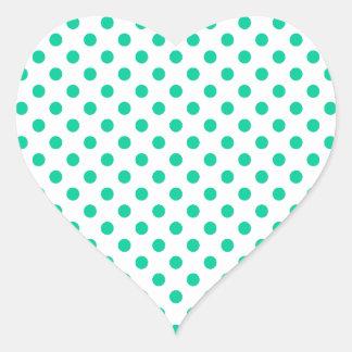 Polka Dots - Caribbean Green on White Heart Sticker