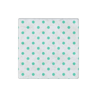 Polka Dots - Caribbean Green on White Stone Magnet