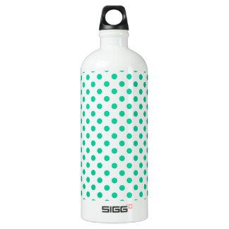 Polka Dots - Caribbean Green on White Water Bottle