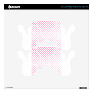 Polka Dots - Carnation Pink on White Skin For PS3 Controller