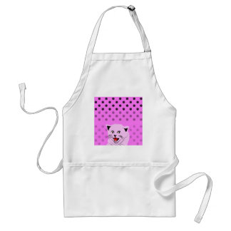 Polka dots_cats_pink_patterns_design adult apron