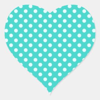 Polka Dots - Celeste on Turquoise Heart Sticker