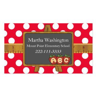 Polka Dots Chalkboard Teacher s Business Card