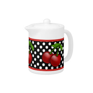 Polka Dots & Cherries Ceramic Tea Pot