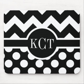 Polka Dots Chevron Pattern Monogram Mouse Pad