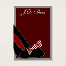 polka dots  chic shoes  business cards