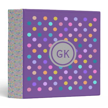Beach Themed Polka dots color confetti  purple grey binder