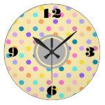 Polka dots confetti colors acrylic wall clock