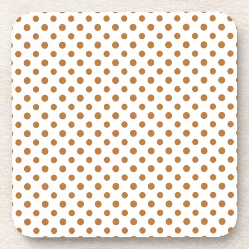 Polka Dots - Copper on White Beverage Coasters