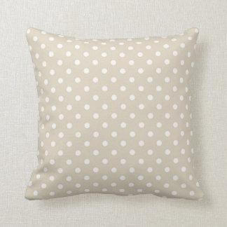 Polka Dots Cream Beige Neutral Colors Throw Pillow