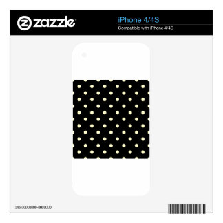 Polka Dots - Cream on Black iPhone 4 Decals