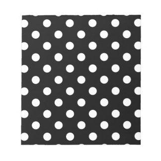 Polka Dots - Cream on Black Notepad