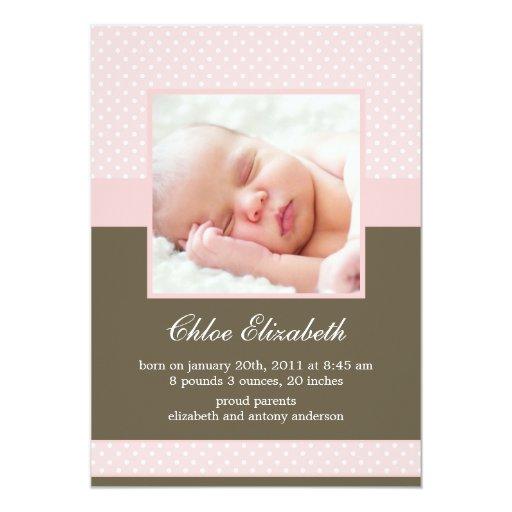 Polka Dots Custom Photo Baby Announcements