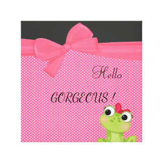 Polka Dots, Cute Froggy-Motivational message Canvas Print