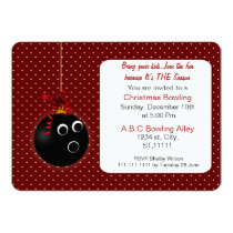 Polka Dots cute Red Christmas Bowling Invitations