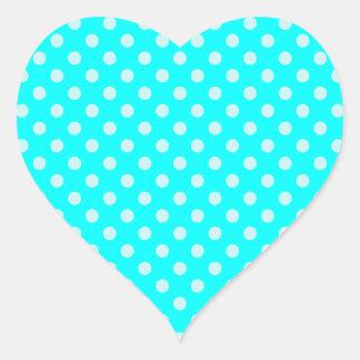 Polka Dots - Cyan 2b Heart Sticker