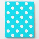 Polka dots cyan hex code 00E3F4 Plaque