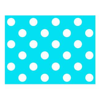 Polka dots cyan hex code 00E3F4 Post Card