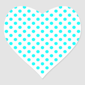 Polka Dots - Cyan on White Heart Sticker