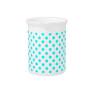 Polka Dots - Cyan on White Beverage Pitchers