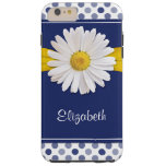 Polka Dots Daisy Navy Blue Yellow Personalized Tough iPhone 6 Plus Case