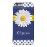 Polka Dots Daisy Navy Blue Yellow Personalized Barely There iPhone 6 Case