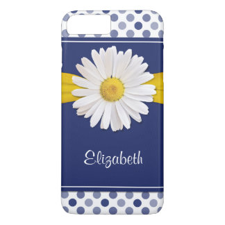 Polka Dots Daisy Navy Blue Yellow Personalized iPhone 8 Plus/7 Plus Case