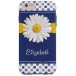 Polka Dots Daisy Ribbon Navy Blue Tough iPhone 6 Plus Case