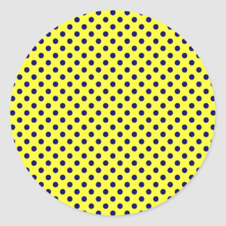 Polka Dots - Dark Blue on Electric Yellow Classic Round Sticker