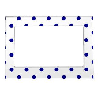 Polka Dots - Dark Blue on White Magnetic Picture Frame