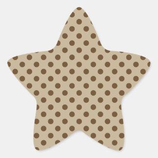 Polka Dots - Dark Brown on Khaki Star Sticker