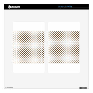 Polka Dots - Dark Brown on White Skin For Kindle Fire