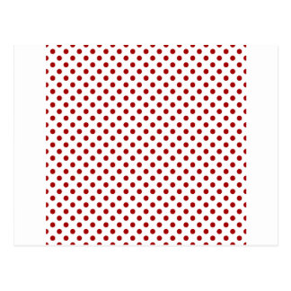 Polka Dots - Dark Candy Apple Red on White Post Card