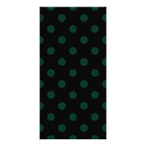 Polka Dots - Dark Green on Black Card