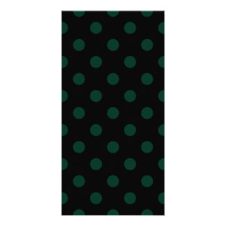 Polka Dots - Dark Green on Black Card