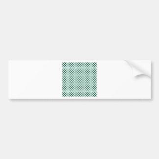 Polka Dots - Dark Green on Light Blue Bumper Sticker