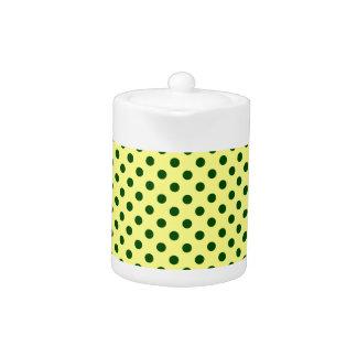 Polka Dots - Dark Green on Yellow