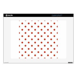Polka Dots - Dark Pastel Red on White Laptop Decal