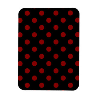 Polka Dots - Dark Red on Black Magnet