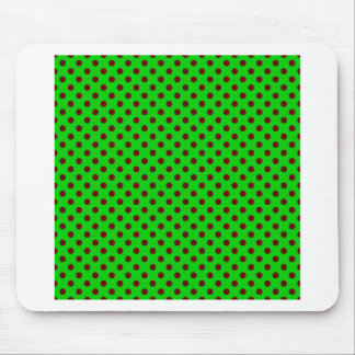 Polka Dots - Dark Red on Bright Green Mouse Pad