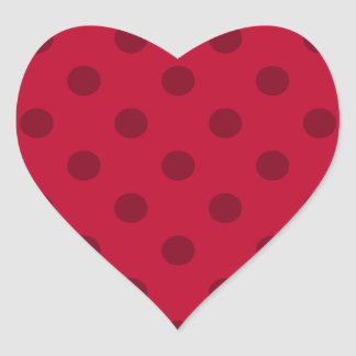 Polka Dots - Dark Red on Red Heart Sticker
