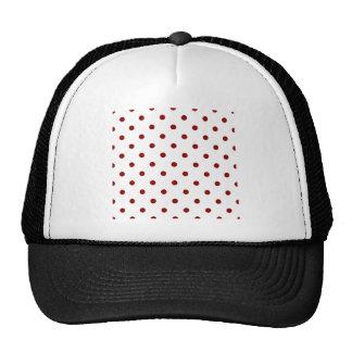 Polka Dots - Dark Red on White Trucker Hat
