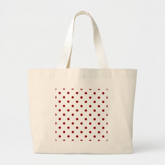 Polka Dots - Dark Red on White Large Tote Bag