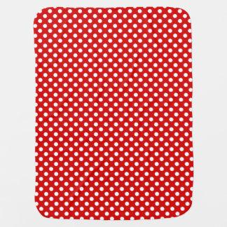 Polka Dots Dark Red/White Reversible Baby Blankets