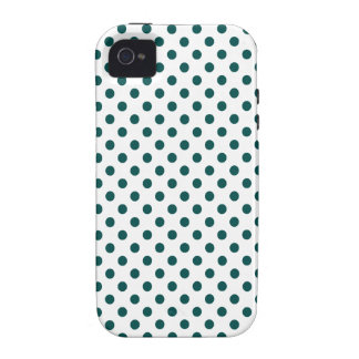 Polka Dots - Deep Jungle Green on White iPhone 4/4S Case